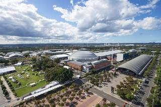 Aerial of Sydney Showground at Sydney Olympic Park