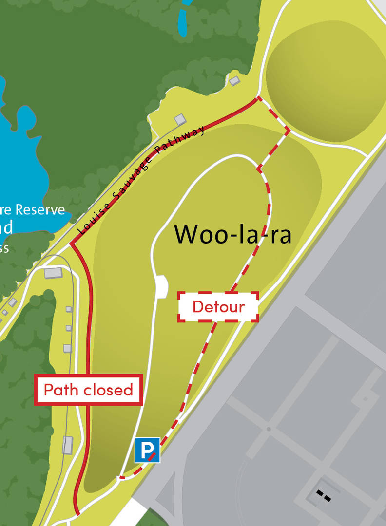Map showing detour around pathway closure