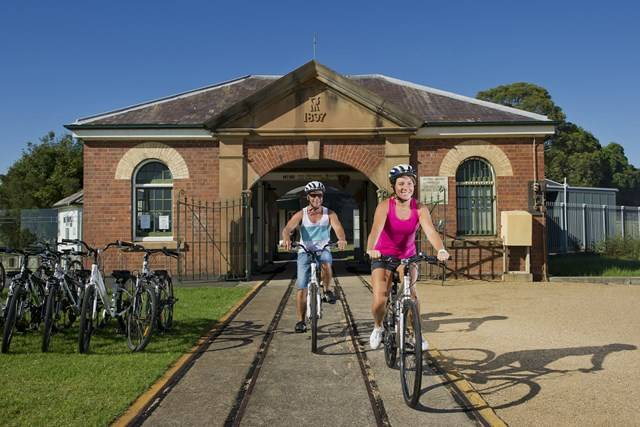 Newington Armory - Cycling by the entrance to the Armory - Photo by Paul K Robbins