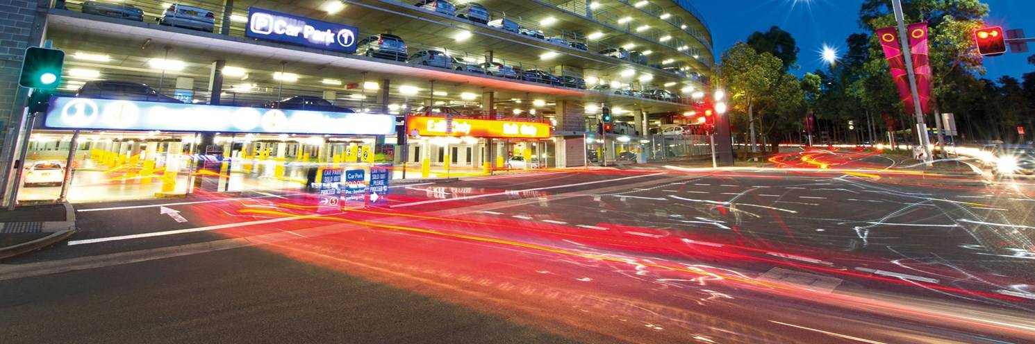 P1 Car Park road lights at Sydney Olympic Park Photo by Paul K Robbins