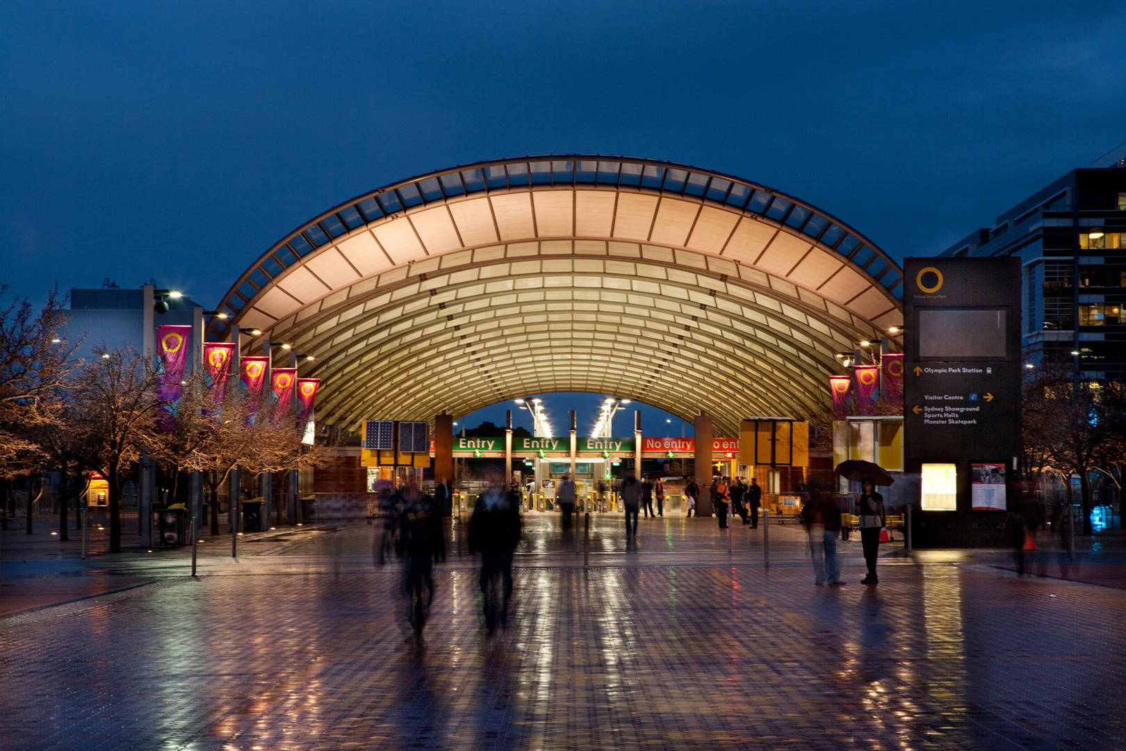 Olympic Park Train Station - train station at night - photo by Paul K Robbins