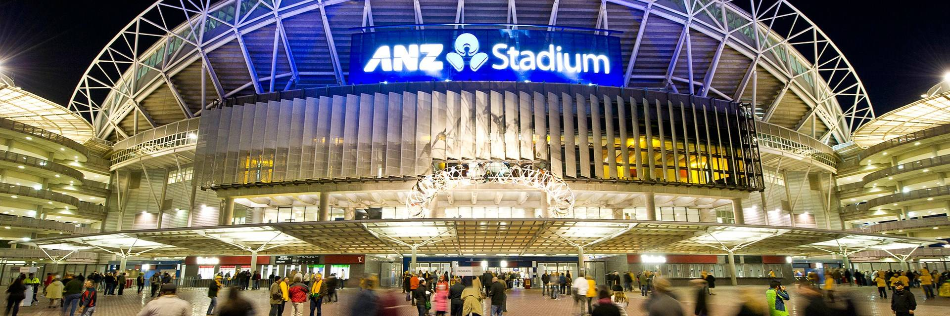 ANZ stadium - stadium at night with crowds - photo by Paul K Robbins