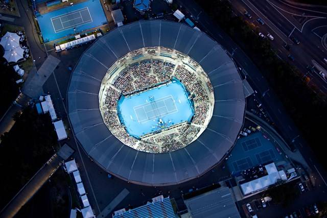 centre tennis court birdseye view sydney olympic park