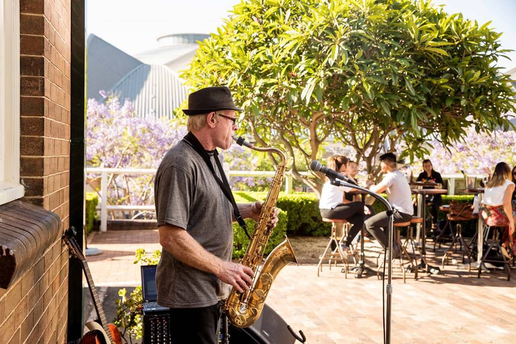 Sydney Olympic Park - jazz muscian at Abattoir Blues - Photography by James Horan