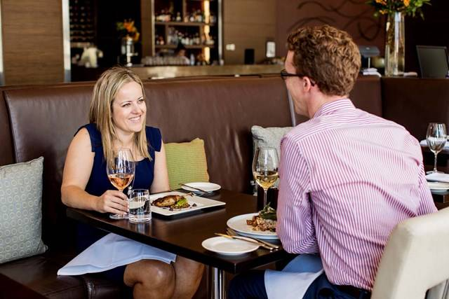 Sydney Olympic Park - couple dining at the Bacar Restaurant, Pullman Hotel - Photography by James Horan