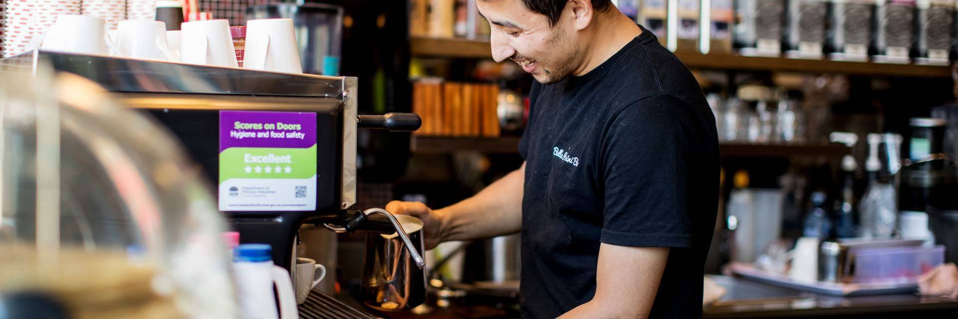 Sydney Olympic Park - shot of barista at Bella Panini bar - Photography by James Horan