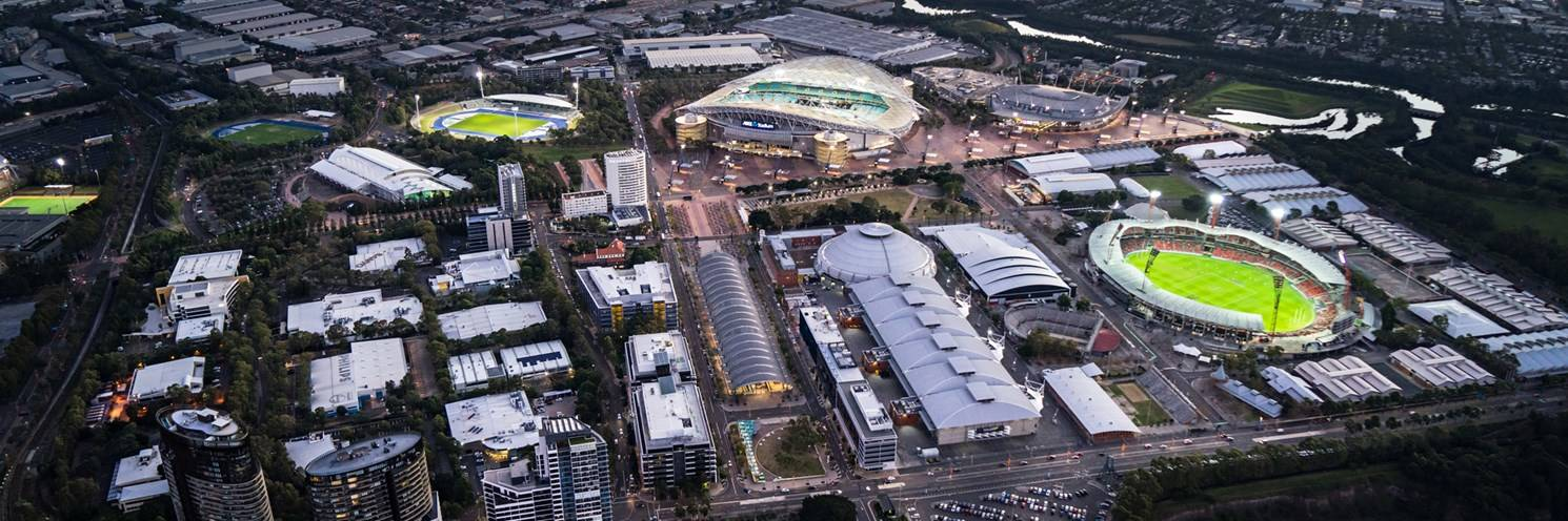 Sydney Olympic Park - Aerial image of the Town Centre and venues - Photo by Ethan Rohloff
