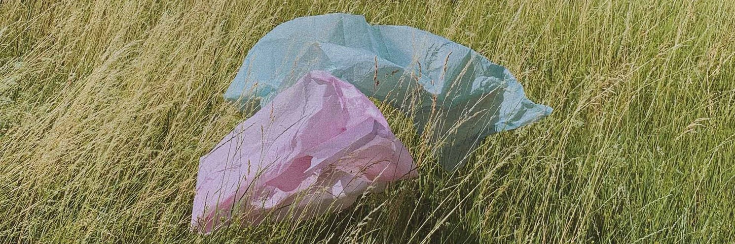 plastic bags floating in grass